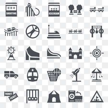 Set Of 25 transparent icons such as Amusement park, Climb, Shooting, Tickets, Childhood, Castle, Punch, Ride, Roller coaster, Ice cream, web UI transparency icon pack