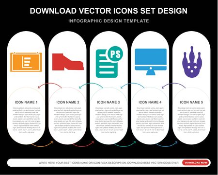 5 vector icons such as Pie chart, Shoe, PS,  Bowling for infographic, layout, annual report, pixel perfect icon