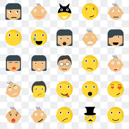 Set Of 25 transparent icons such as Smile smile, Joyful Happy Yawning Relieved Shocked Ti web UI transparency icon pack, pixel perfect