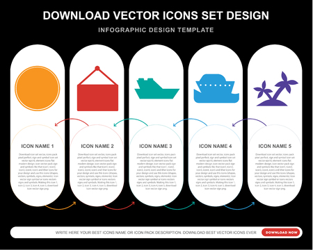 5 vector icons such as Summer, Photography, Yatch, Cruise, Island for infographic, layout, annual report, pixel perfect icon