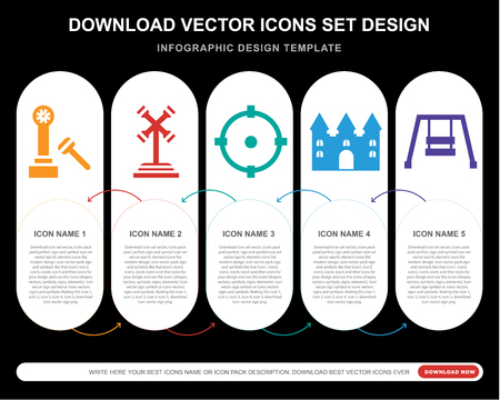 5 vector icons such as Hammer, Ride, Childhood, Bouncy castle, Hook for infographic, layout, annual report, pixel perfect icon