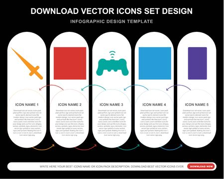 5 vector icons such as Sword, Dice, Gamepad, Chess board,  infographic, layout, annual report, pixel perfect icon Imagens - 130332368