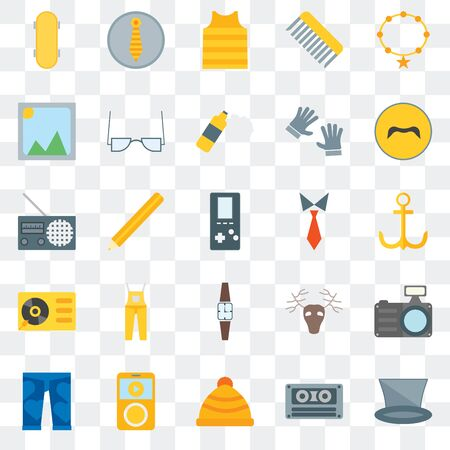 Set Of 25 transparent icons such as Accessory, Cassette, Winter hat,  Clothing, Mustache, Tie, Wristwatch, Turntable, Picture, web UI transparency icon pack