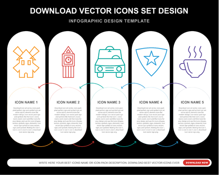 5 vector icons such as Farm, Big ben, Car, England, Hot drink for infographic, layout, annual report, pixel perfect icon