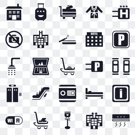 Set Of 25 transparent icons such as Air conditioner, Hotel, Stool, Luggage, Wifi, Parking, Safebox, Elevator, No pictures, Room service, web UI transparency icon pack