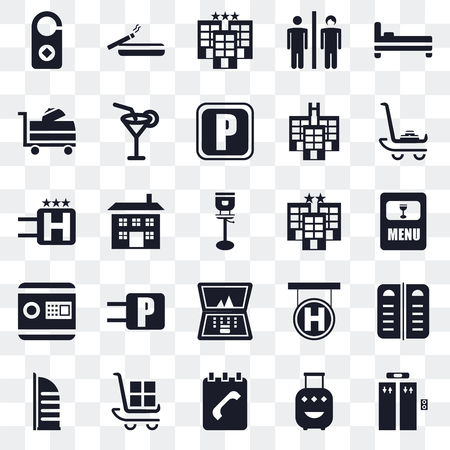 Set Of 25 transparent icons such as Elevator, Luggage, Agenda, Burj al arab, Hotel, Laptop, Safebox, Room service, Smoking, web UI transparency icon pack