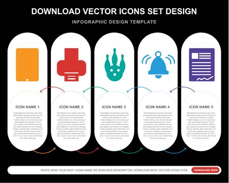 5 vector icons such as , Printer, Bowling, Bell, Contract for infographic, layout, annual report, pixel perfect icon Illustration