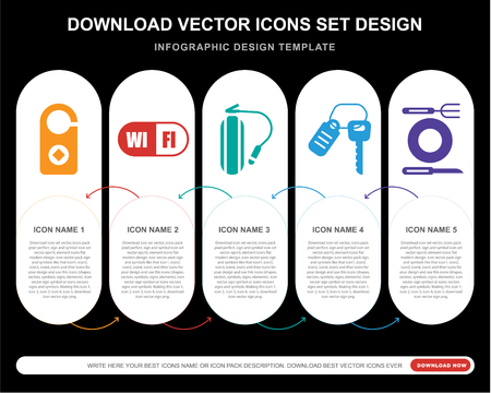 5 vector icons such as Doorknob, Wifi, Fire extinguisher, Room key, Restaurant for infographic, layout, annual report, pixel perfect icon Ilustrace