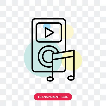 music player vector icon isolated on transparent background