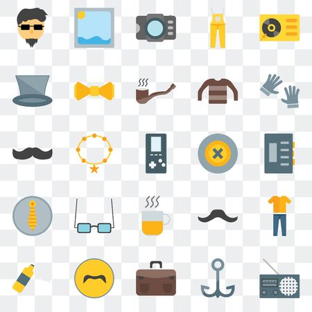 Set Of 25 transparent icons such as Radio, Navy, Briefcase, Mustache, Foam, Accesory, Buttons, Hot drinks, Photograph, Picture, web UI transparency icon pack