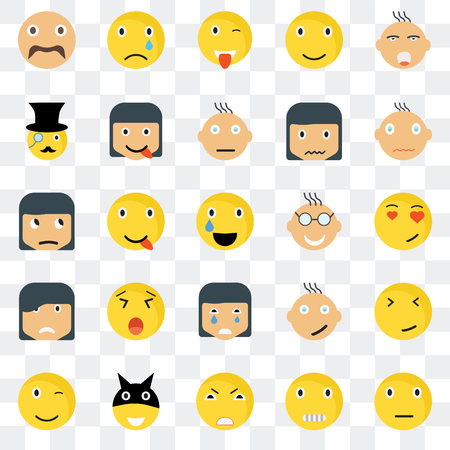 Set Of 25 transparent icons such as Sceptic smile, In love Happy Sad Winking web UI transparency icon pack, pixel perfect