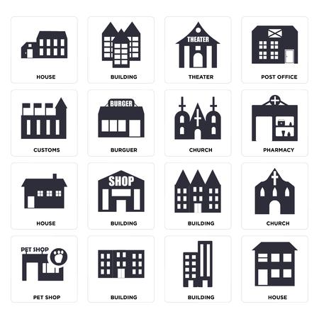 Ensemble de 16 icônes telles que maison, bâtiment, animalerie, église, douanes, pack d'icônes modifiables de l'interface utilisateur Web, pixel parfait Vecteurs