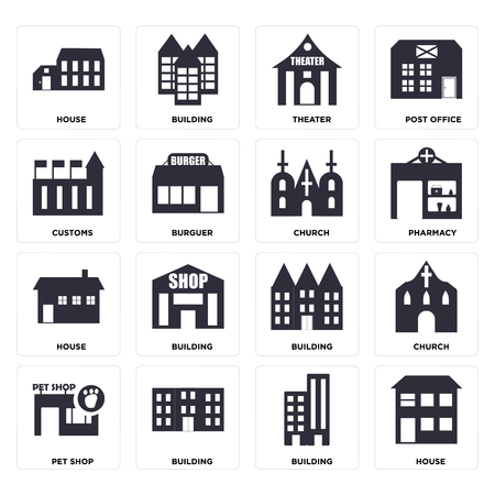 Set Of 16 icons such as House, Building, Pet shop, Church, Customs, web UI editable icon pack, pixel perfect Illustration