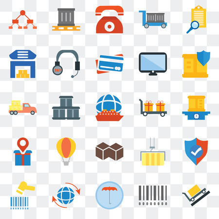 Set Of 25 transparent icons such as Package, Barcode, Umbrella, Global, Barcode scanner, Delivery, Cube, Placeholder, Warehouse, Telephone, web UI transparency icon pack Illustration