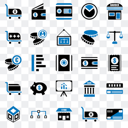 Set Of 25 transparent icons such as Cit card, Cart, Store, Diagram, Crate, Justice scale, Wallet, Presentation, Safebox, web UI transparency icon pack