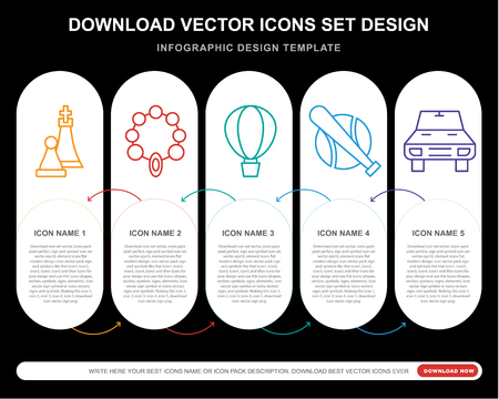 5 vector icons such as Chess, Bead, Parachuting, Baseball, Car for infographic, layout, annual report, pixel perfect icon