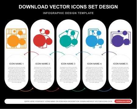 5 vector icons such as Chess board, Reading, Card,  Tv for infographic, layout, annual report, pixel perfect icon Stock Illustratie