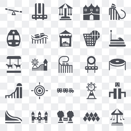 Set Of 25 transparent icons such as Swing, Childhood, Playground, Ride, Slide, Bumper car, Soccer field, Sports ball, Train, Sailing boat, web UI transparency icon pack Stock Illustratie
