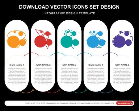 5 icônes vectorielles telles que Collier, Origami, Fleur, Jardinage, Yoyo pour infographie, mise en page, rapport annuel, icône parfaite de pixel