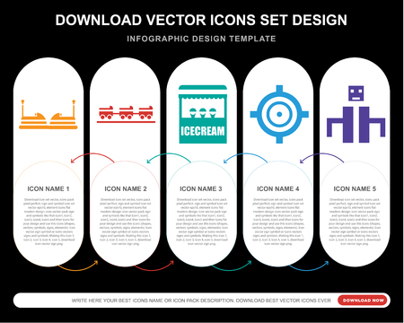5 vector icons such as Childhood, Ride, Ice cream, Target, Playground for infographic, layout, annual report, pixel perfect icon Ilustração