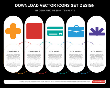 5 vector icons such as  aid, Checked, Cit card, Briefcase, Pantone for infographic, layout, annual report, pixel perfect icon