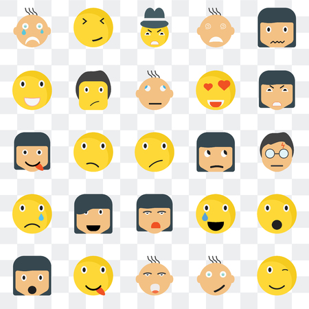 Set Of 25 transparent icons such as Winking smile, Harry potter Angry Faint Surprised Ti Relieved Happy web UI transparency icon pack, pixel perfect