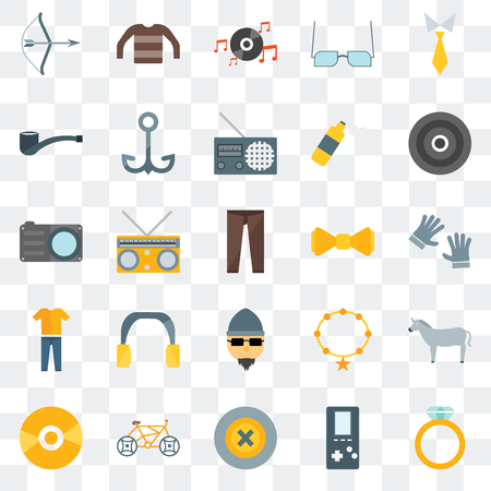 Set Of 25 transparent icons such as Accessory, Buttons, Bicycle, Vinyl, Bow tie, Hipster, Clothing, Long play, sleeves, web UI transparency icon pack