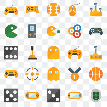 Set Of 25 transparent icons such as Football pitch, Console, Die, Gamepad, Ghost, Pacman, Ball, web UI transparency icon pack