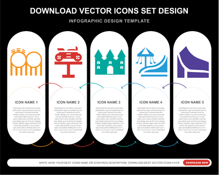 5 vector icons such as Childhood, Bike, Bouncy castle, Amusement park, Slide for infographic, layout, annual report, pixel perfect icon