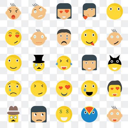 Set Of 25 transparent icons such as Joyful smile, Superhero Happy Angry Gentleman Relieved Smile web UI transparency icon pack, pixel perfect 일러스트