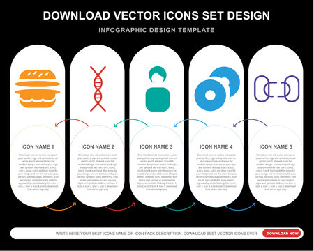 5 vector icons such as Double Burger, DNA chromosome, Woman Profile, CD Record, Disconnected chains for infographic, layout, annual report, pixel perfect icon Çizim