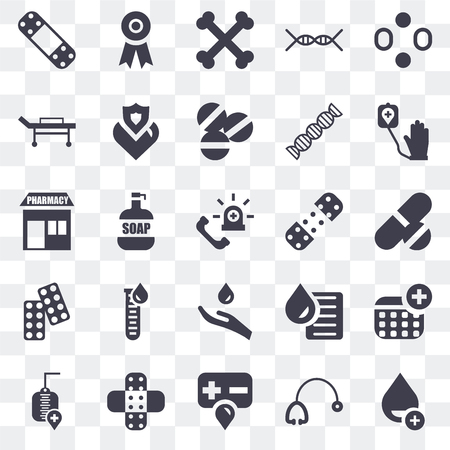 Set Of 25 transparent icons such as Drop, Stethoscope, Blood, Transfusion, Blood donation, Plaster, Drugs, Stretcher, Bone, Ribbon, web UI transparency icon pack