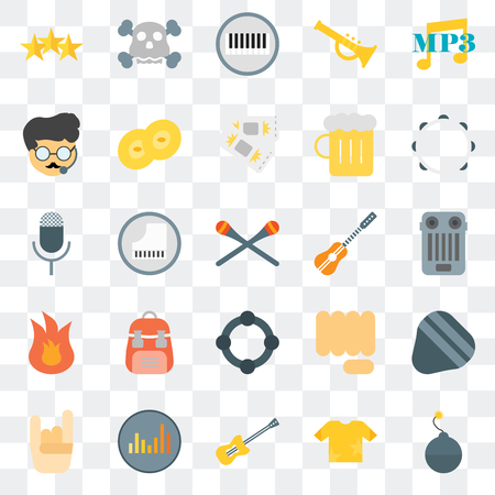 Set Of 25 transparent icons such as Bomb, Shirt, Guitar, Equalizer, Maloik, Tambourine, Fire, Bodyguard, Piano, Skull, web UI transparency icon pack