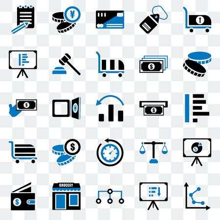 Set Of 25 transparent icons such as Graph, Presentation, Diagram, Grocery, Wallet, Coin, Atm, Rewind time, Cart, Cit card, Yen, web UI transparency icon pack