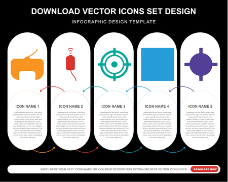 5 vector icons such as Gamepad, Aim, Chess board, Countdown for infographic, layout, annual report, pixel perfect icon