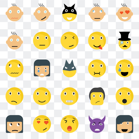 Set Of 25 transparent icons such as Happy smile, Relieved Gentleman Sceptic Ti Sick web UI transparency icon pack, pixel perfect