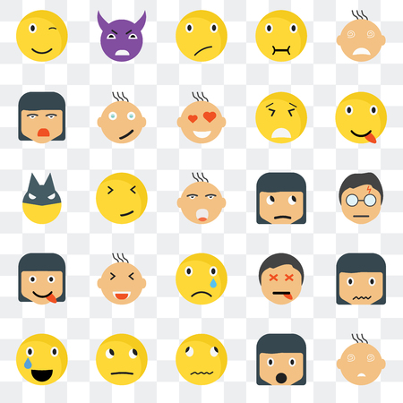 Set Of 25 transparent icons such as Faint smile,   Happy Evil Relieved Dead Superhero web UI transparency icon pack, pixel perfect