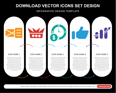 5 vector icons such as Email opened envelope, Royalties, Dollar on business time, Thumb up filled gesture, Finances stats bars graphic with arrow for infographic, layout, annual report, pixel
