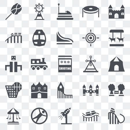 Set Of 25 transparent icons such as Ride, Shooting, Merry go round, Ferris wheel, Swing, Train, Playground, web UI transparency icon pack, pixel perfect