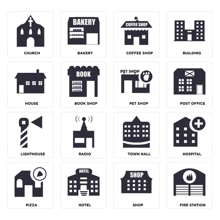 Set Of 16 icons such as Fire station, Shop, Hotel, Pizza, Hospital, Church, House, Lighthouse, Pet shop, web UI editable icon pack, pixel perfect