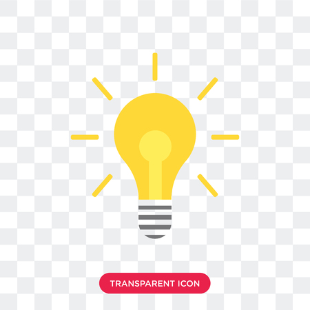 Light bulb vector icon isolated on transparent background, Light bulb logo concept