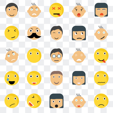 Set Of 25 transparent icons such as Sad smile, Happy Angry Sceptic Rich web UI transparency icon pack, pixel perfect
