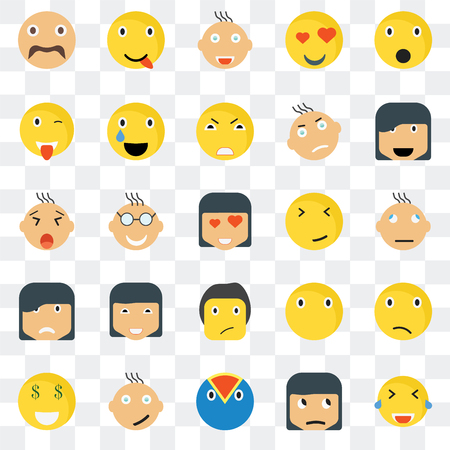 Set Of 25 transparent icons such as Laughing smile, Confused Happy Rich Relieved Silent Yawning web UI transparency icon pack, pixel perfect Illustration