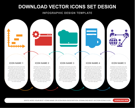 5 vector icons such as Analytics, Laptop, Software, Network for infographic, layout, annual report, pixel perfect icon