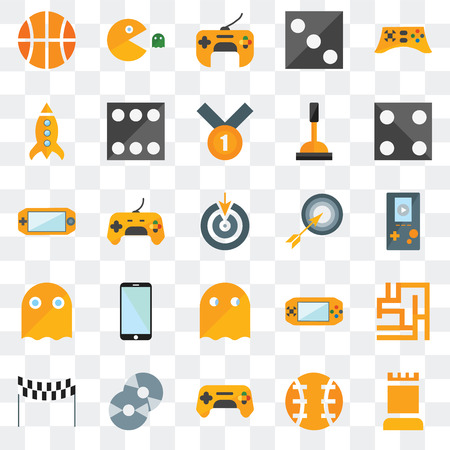 Set Of 25 transparent icons such as Tower, Ball, Gamepad, Cd, Finish line, Die, Bullseye, Pacman, Ghost, Missile, web UI transparency icon pack Ilustração