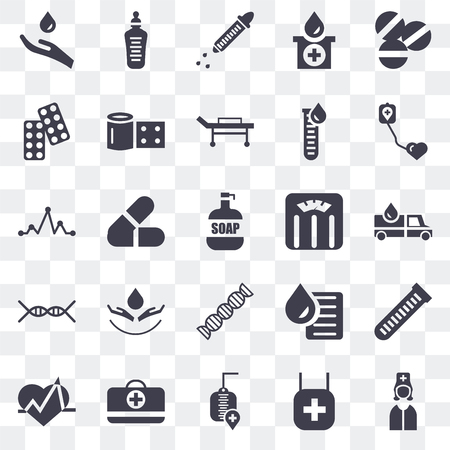 Set Of 25 transparent icons such as Nurse, Donation, Blood donation, Feeding bottle, Electrocardiogram, Bandage, test, Pulse, web UI transparency icon pack, pixel perfect
