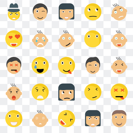 Set Of 25 transparent icons such as Joyful smile, Smiling Winking Laughing Crying Faint Dead web UI transparency icon pack, pixel perfect Illustration