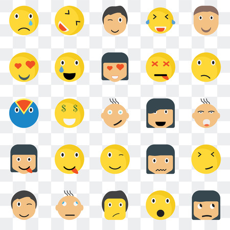 Set Of 25 transparent icons such as Sceptic smile, Ti Confused Happy Winking Relieved Sca Superhero web UI transparency icon pack, pixel perfect