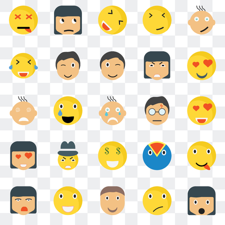 Set Of 25 transparent icons such as Surprised smile, In love Sceptic Ti Wink Superhero Crying web UI transparency icon pack, pixel perfect 일러스트