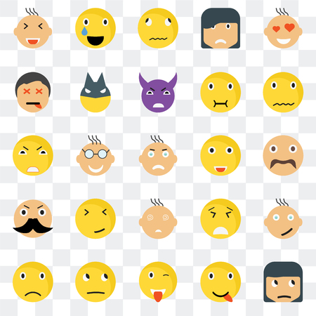 Set Of 25 transparent icons such as Sceptic smile, Hipster Sca Relieved Sad Superhero Desperate Angry web UI transparency icon pack, pixel perfect